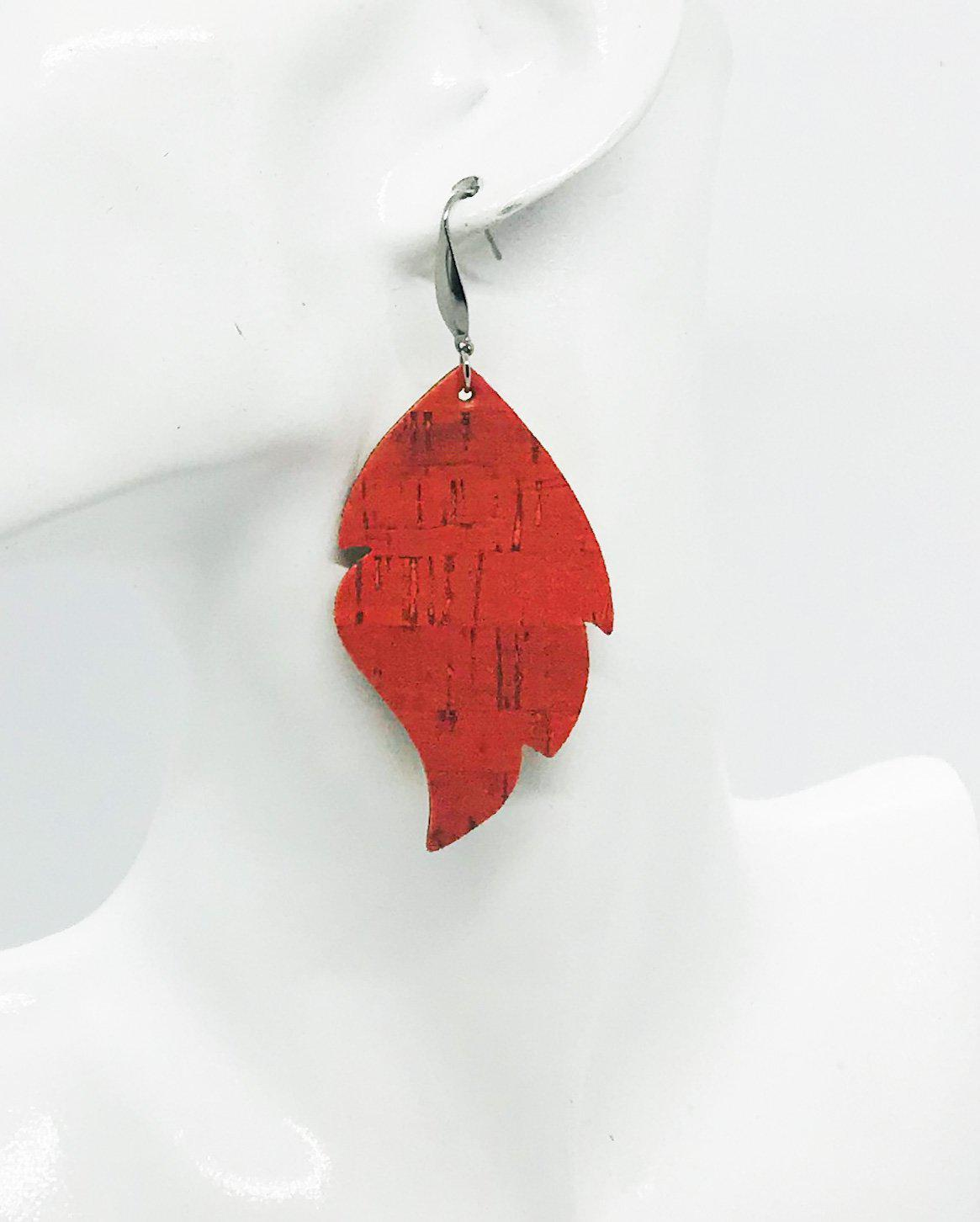 Salmon Cork Leather Earrings - E19-1010