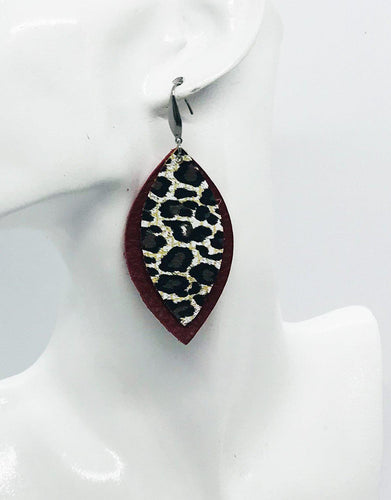Red Leather and Baby Cheetah Leather Earrings - E19-1013