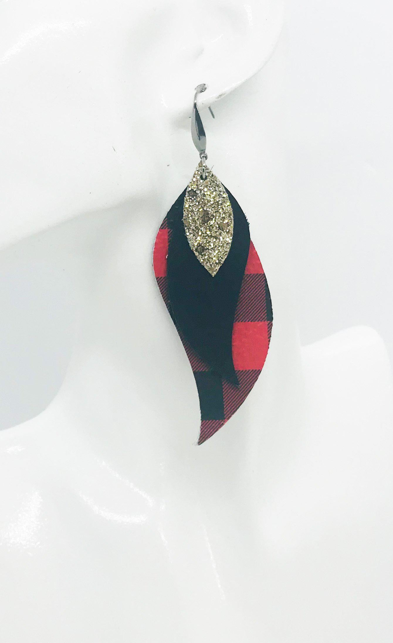 Plaid Leather and Glitter Earrings - E19-1019
