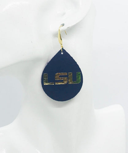 LSU Themed Leather Earrings - E19-1023