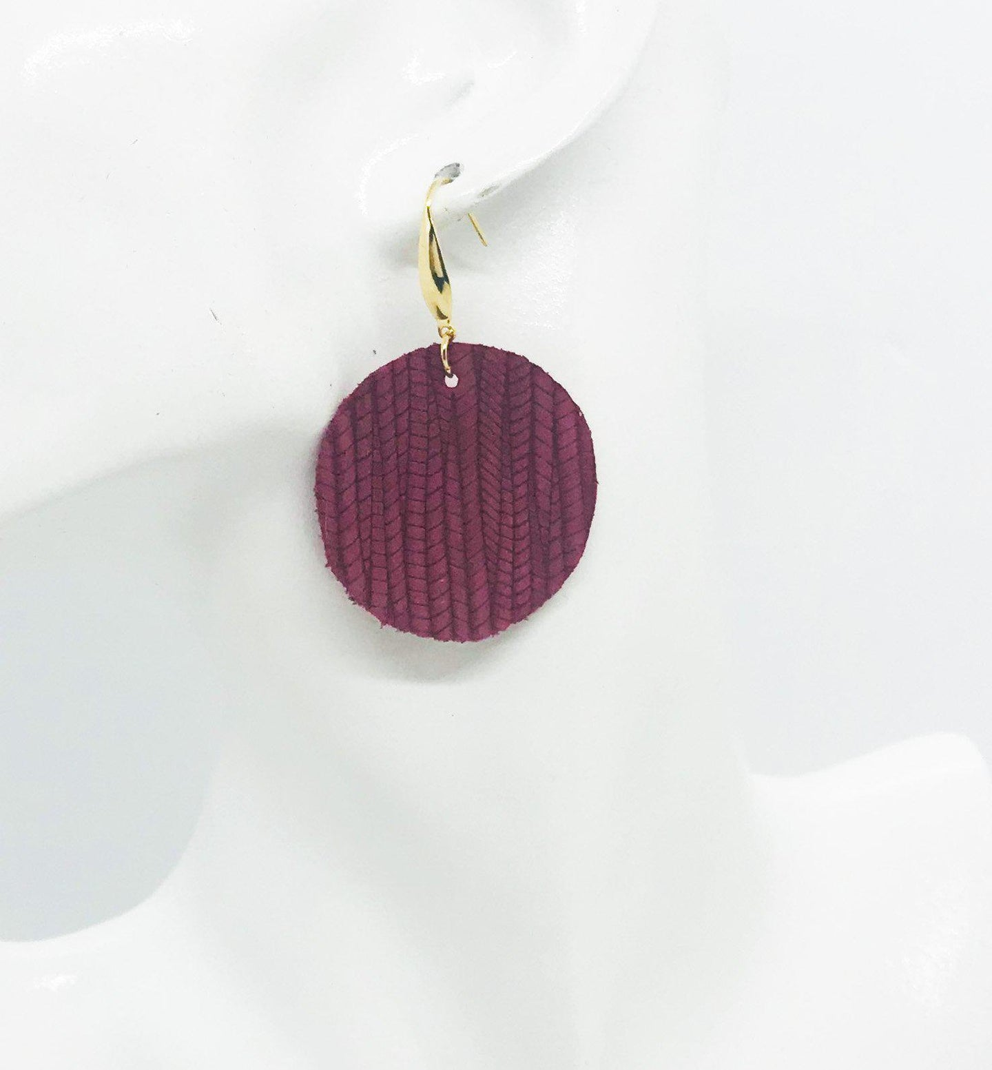 Raspberry Palm Leaf Leather Earrings - E19-1026