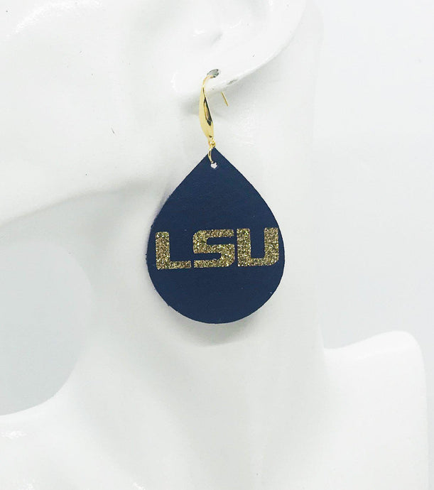 LSU Themed Leather Earrings - E19-1027