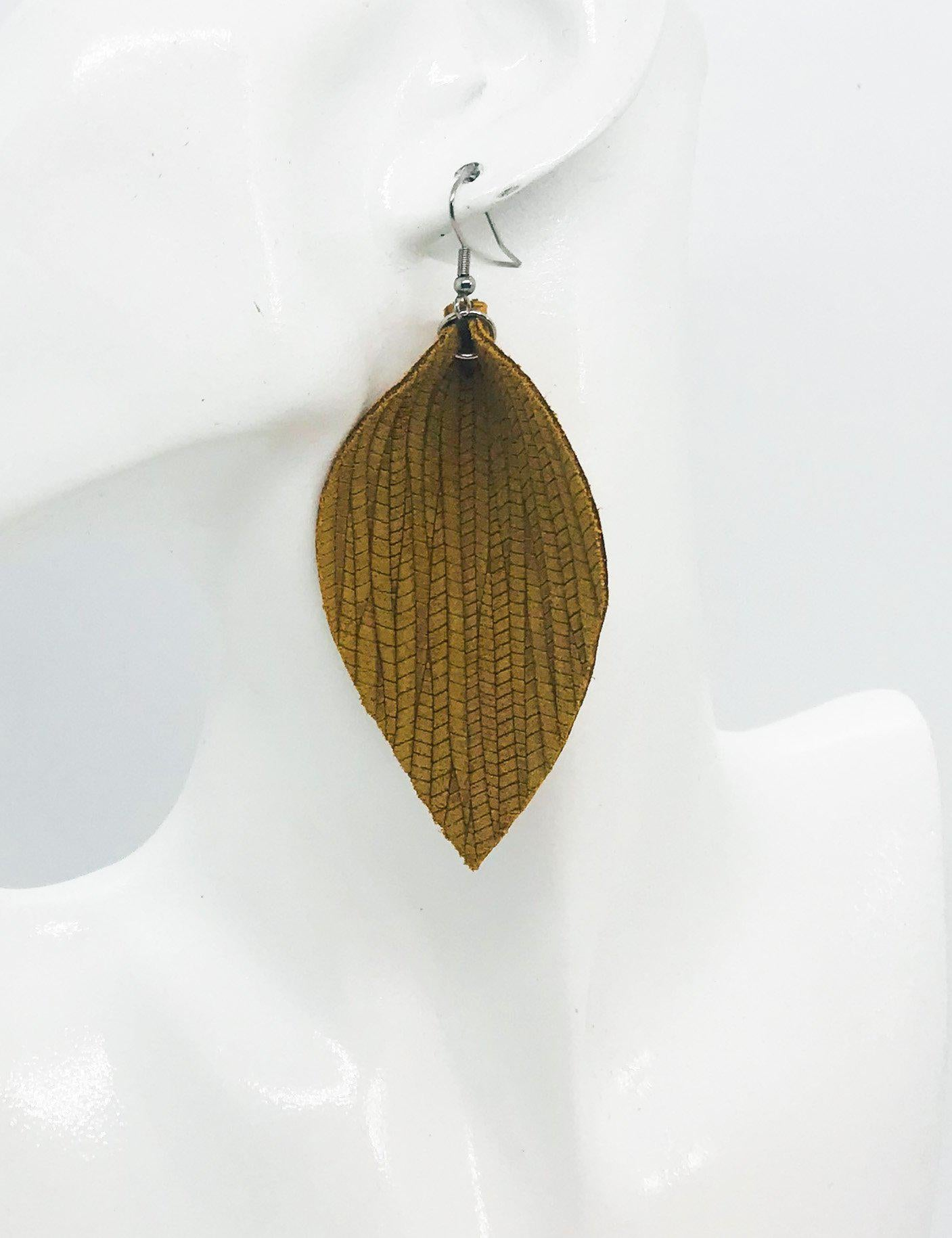 Mustard Palm Leaf Leather Earrings - E19-1034