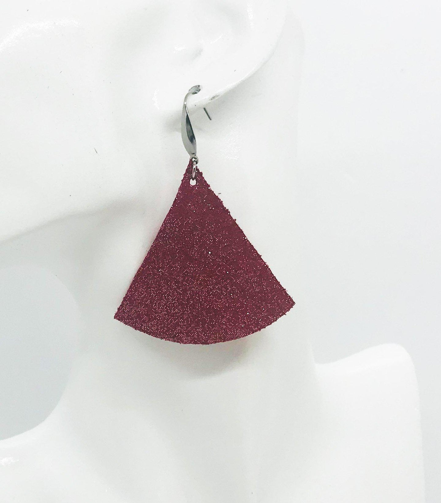 Crimson Dazzle Leather Earrings - E19-1037