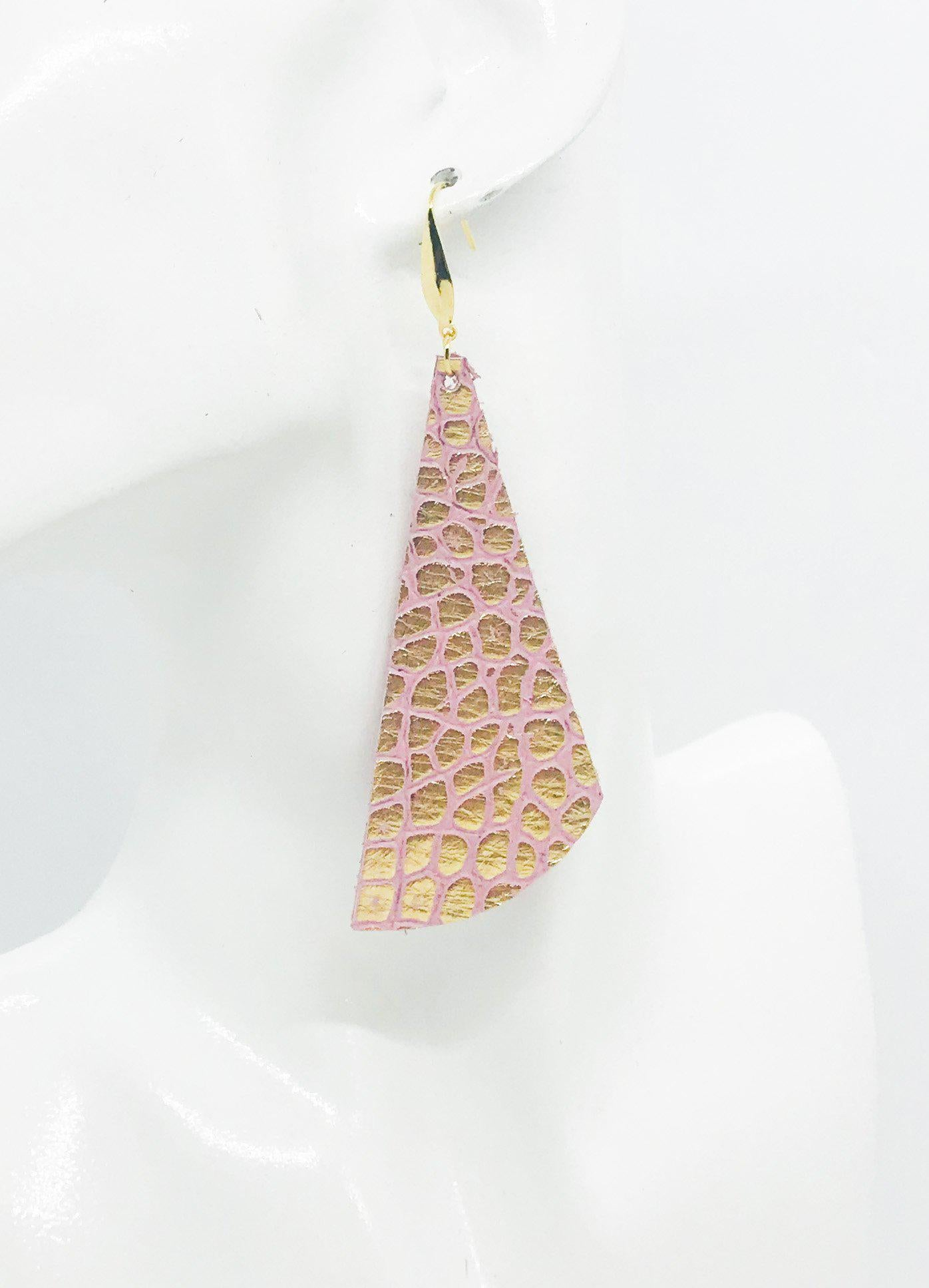 Gold and Pink Crocodile Leather Earrings - E19-1040