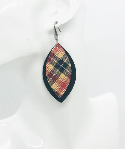 Black and Plaid Leather Earrings - E19-1067