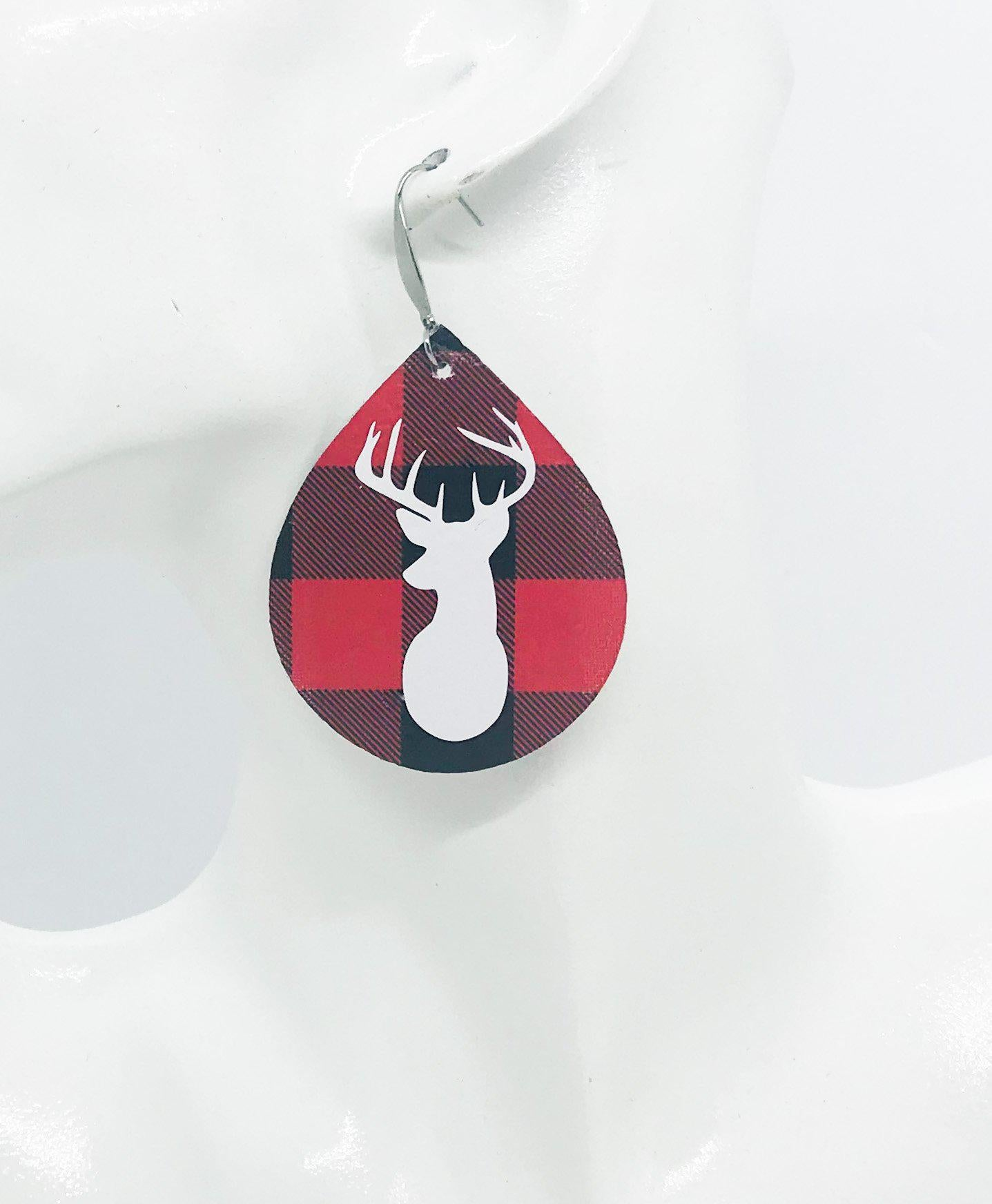 Buffalo Plaid Leather Stag Head Earrings - E19-1069