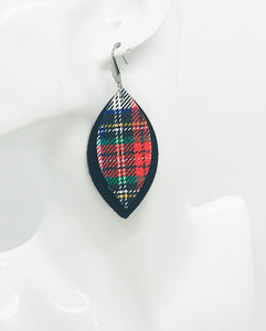 Black and Plaid Leather Earrings - E19-1072