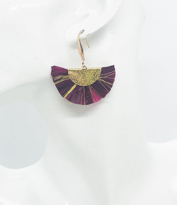 Maroon and Gold Fan Shaped Tassel Earrings - E19-1075