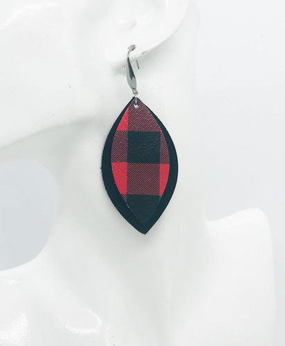 Black and Plaid Leather Earrings - E19-1078