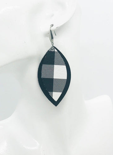 Black and Plaid Leather Earrings - E19-1081