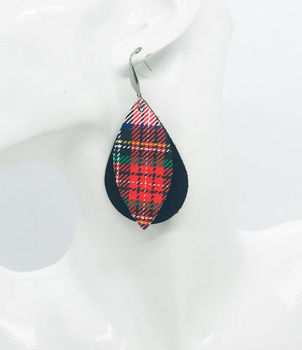 Black and Plaid Leather Earrings - E19-1099