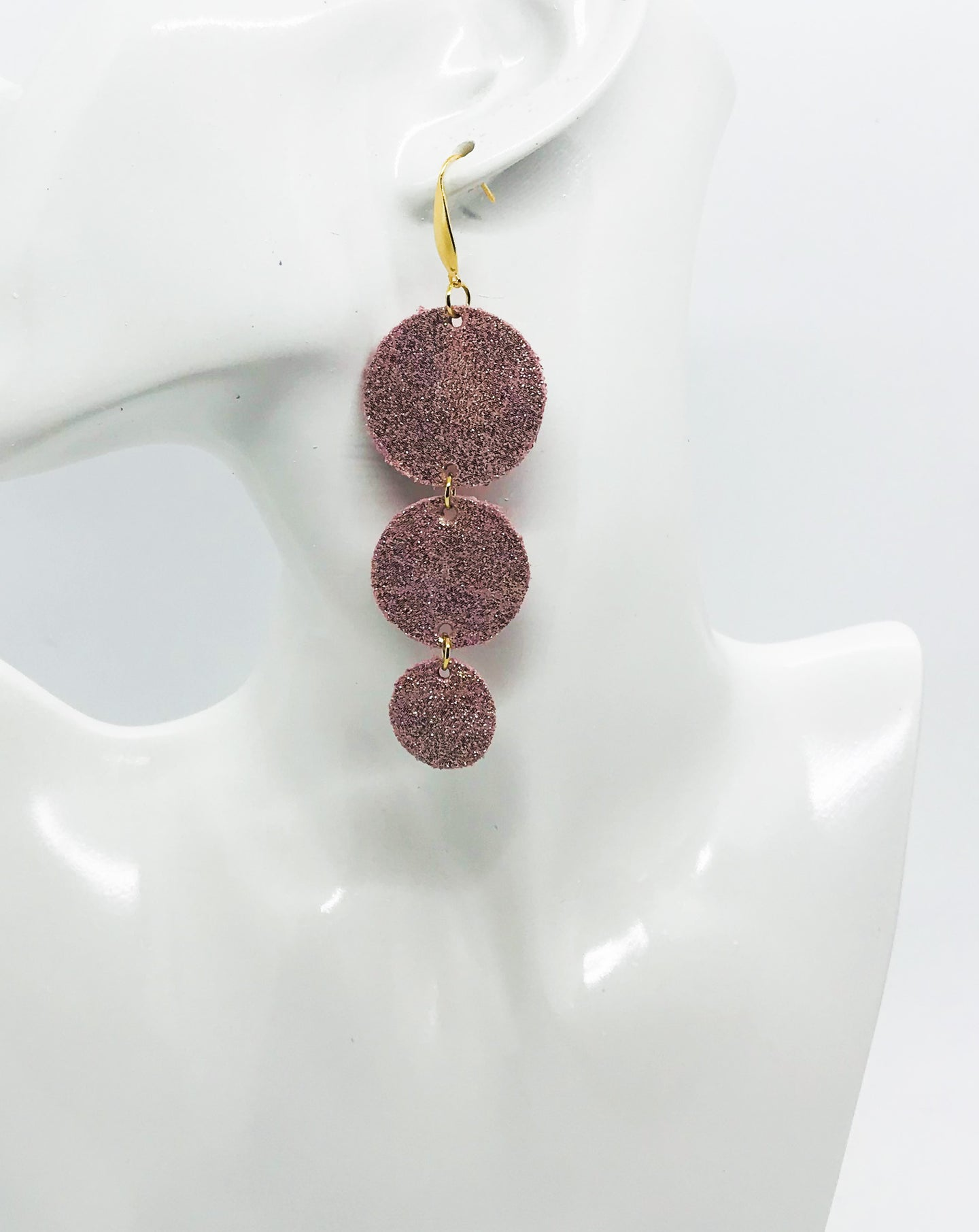 Rose Gold Leather Earrings - E19-1111