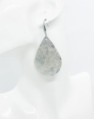 Silver Hair On Leather Earrings - E19-1115
