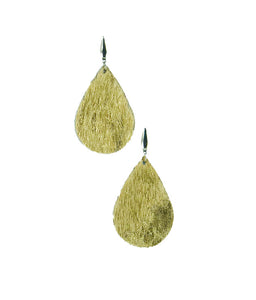 Gold Hair On Leather Earrings - E19-1116