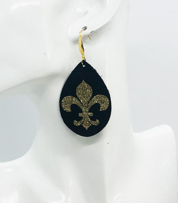 Saint's Themed Leather Earrings - E19-1125