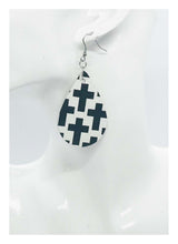 Load image into Gallery viewer, Black Crosses on off White Leather Earrings - E19-112