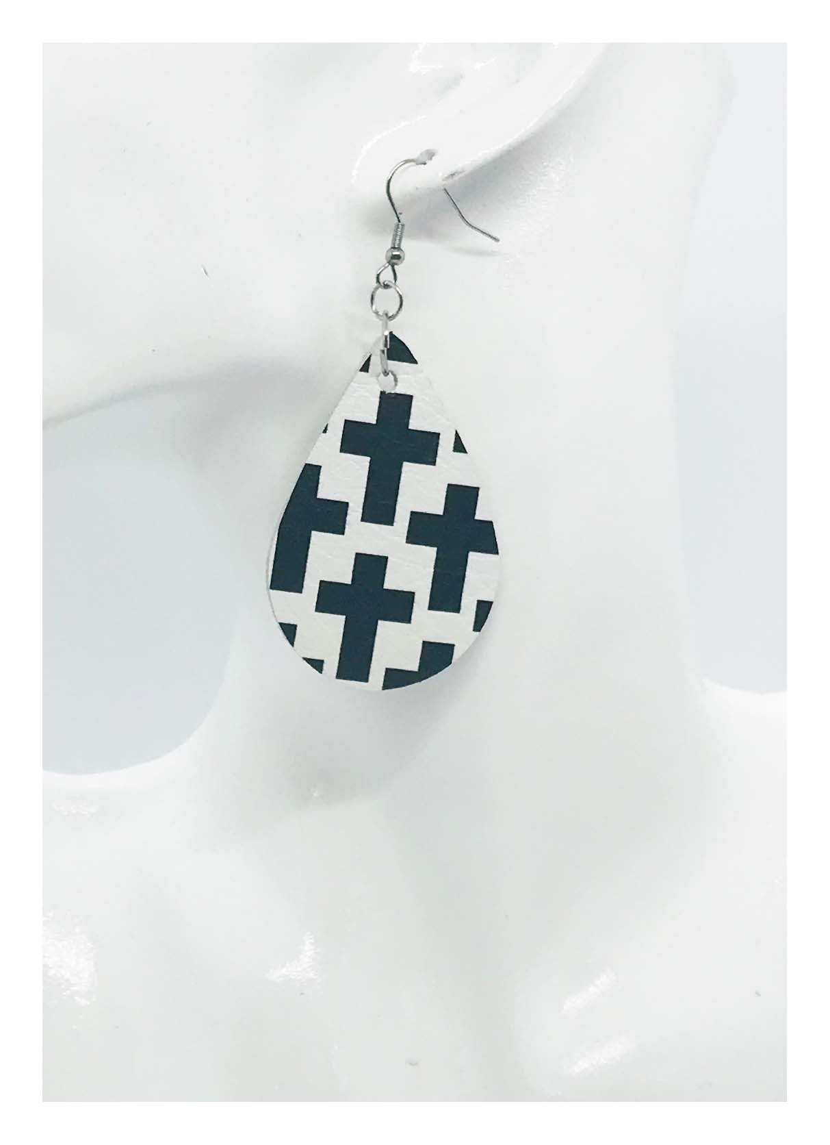 Black Crosses on off White Leather Earrings - E19-112