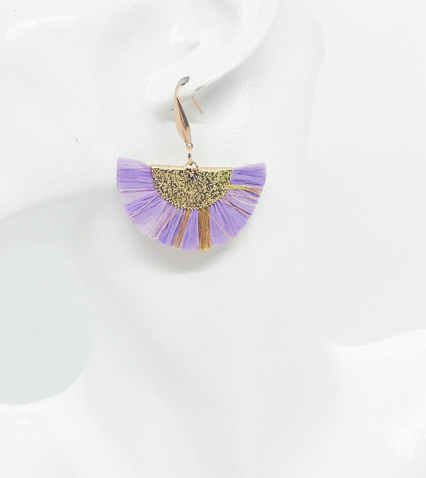 Lavender and Gold Fan Shaped Tassel Earrings - E19-1130