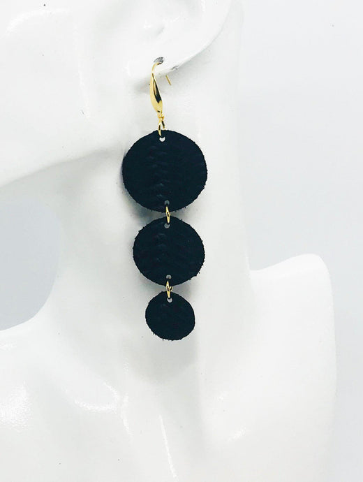 Black Braided Fishtail Leather Earrings - E19-1145