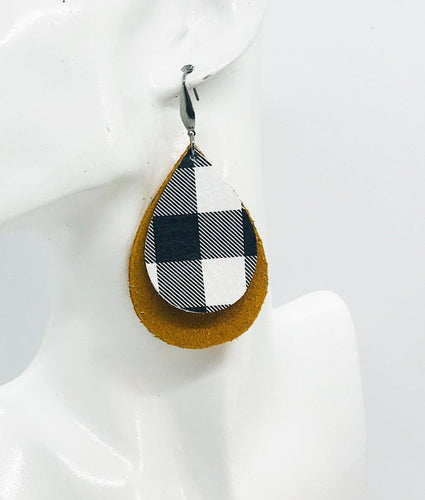 Mustard Suede Leather and Buffalo Plaid Leather Earrings - E19-1148