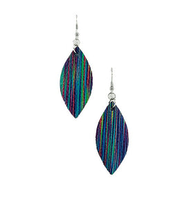 Dark Rainbow Glistening Striped Leather Earrings - E19-114