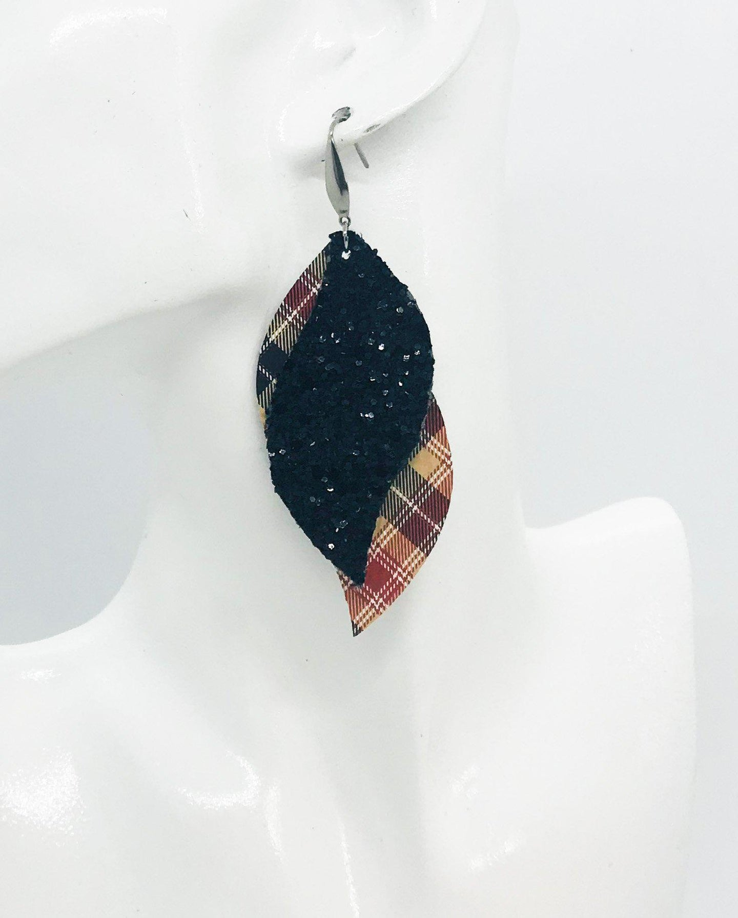 Tartan Plaid Leather and Chunky Glitter Earrings - E19-1153