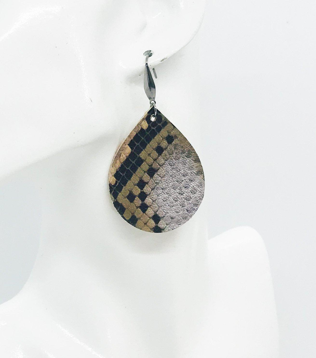 Python Snake Leather Earrings - E19-1159
