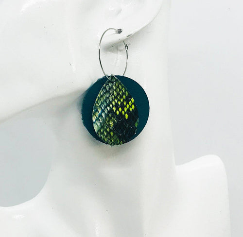 Turquoise and Cobra Leather Hoop Earrings - E19-1167