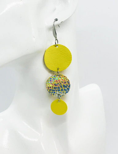 Yellow Leather and Banana Leather Earrings - E19-1174