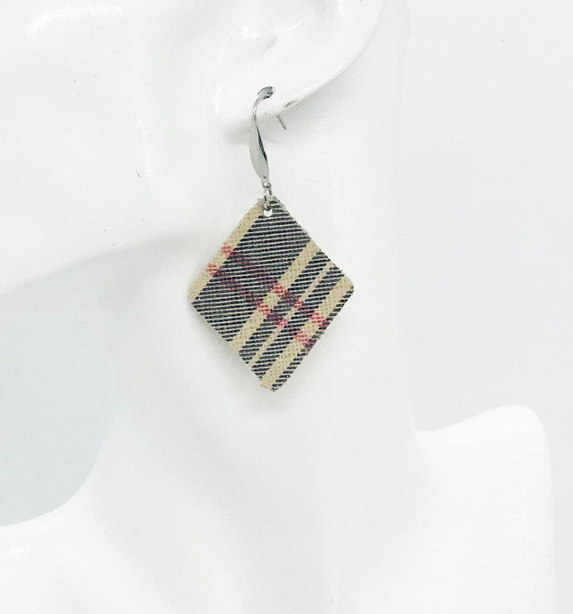 Preppy Plaid Leather Earrings - E19-1179