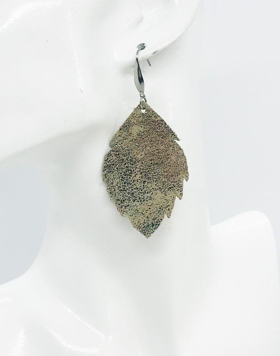 Platinum Crackle Leather Earrings - E19-1182