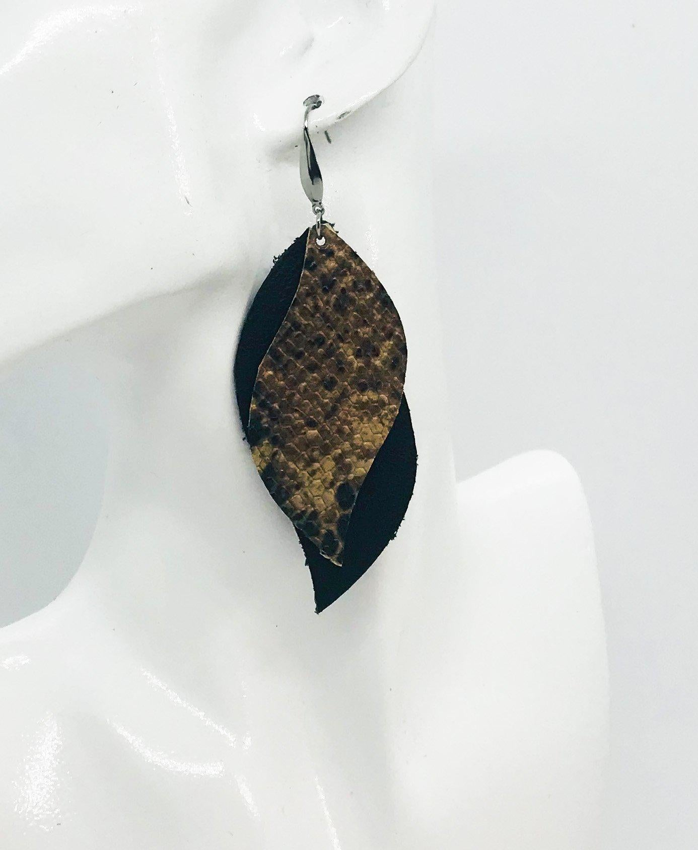 Black Leather and Python Snake Leather Earrings - E19-1184