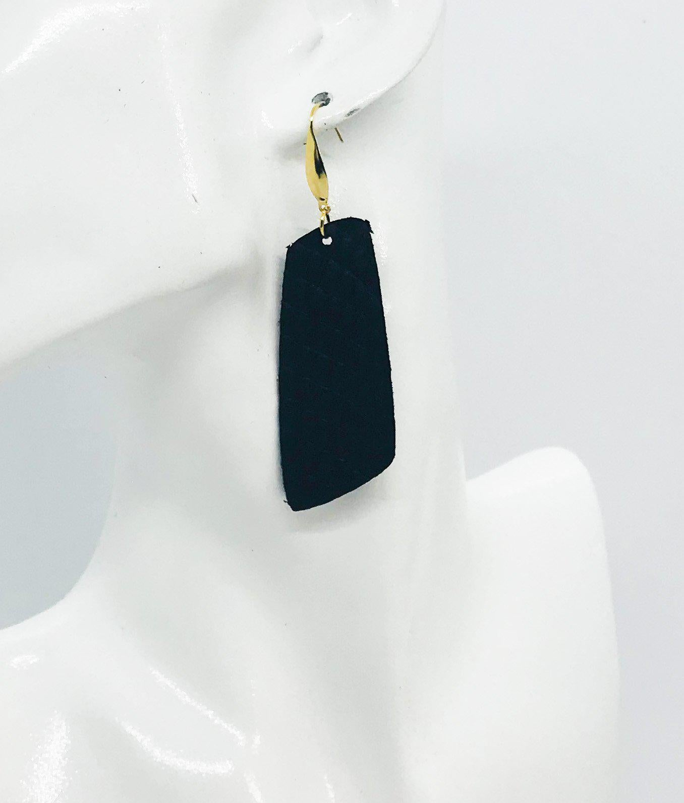 Black Cobra Leather Earrings - E19-1185