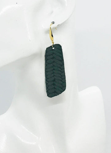 Green Braided Fishtail Leather Earrings - E19-1188