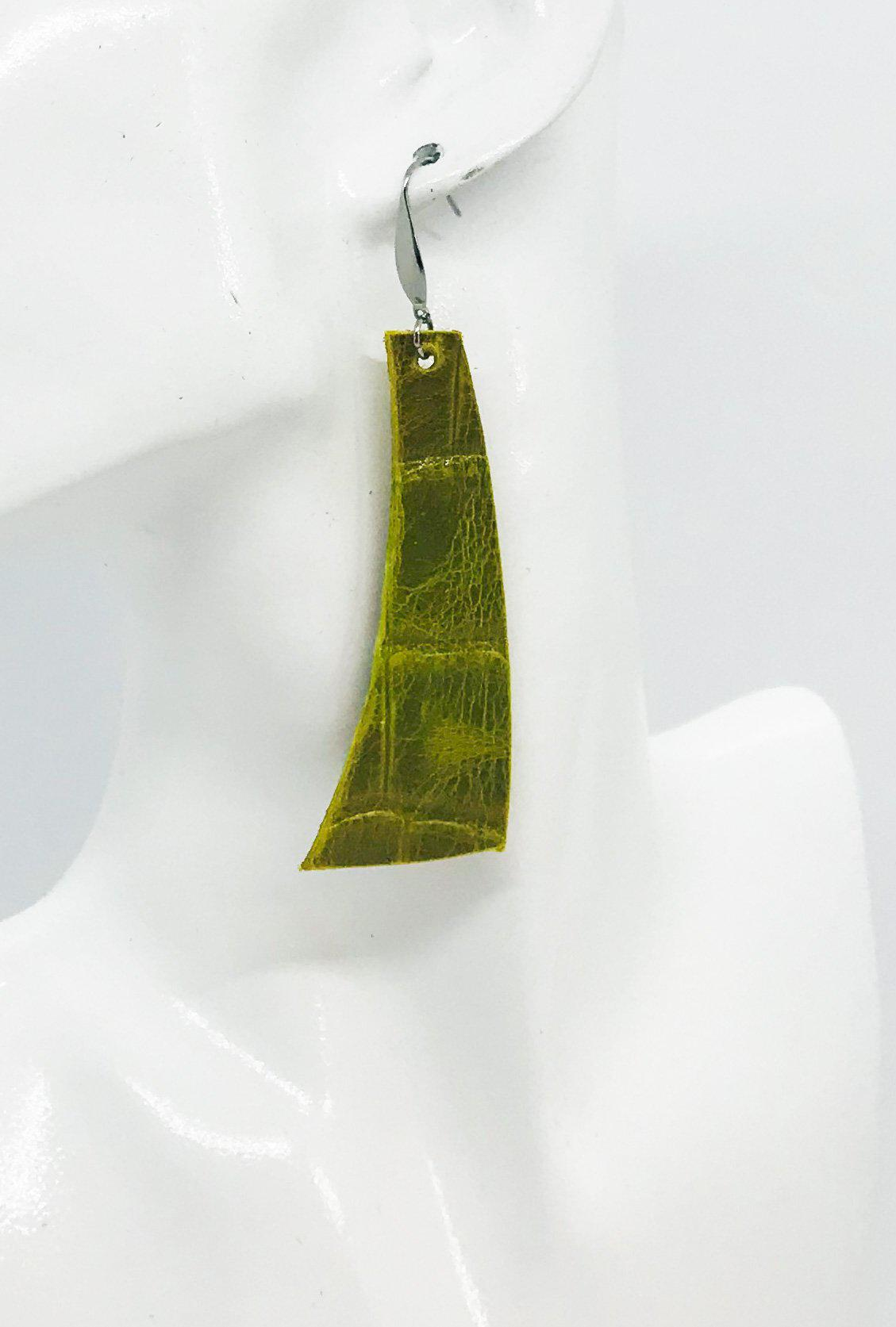 Croco Embossed Leather Earrings - E19-1191