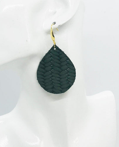 Olive Green Braided Fishtail Leather Earrings - E19-1194