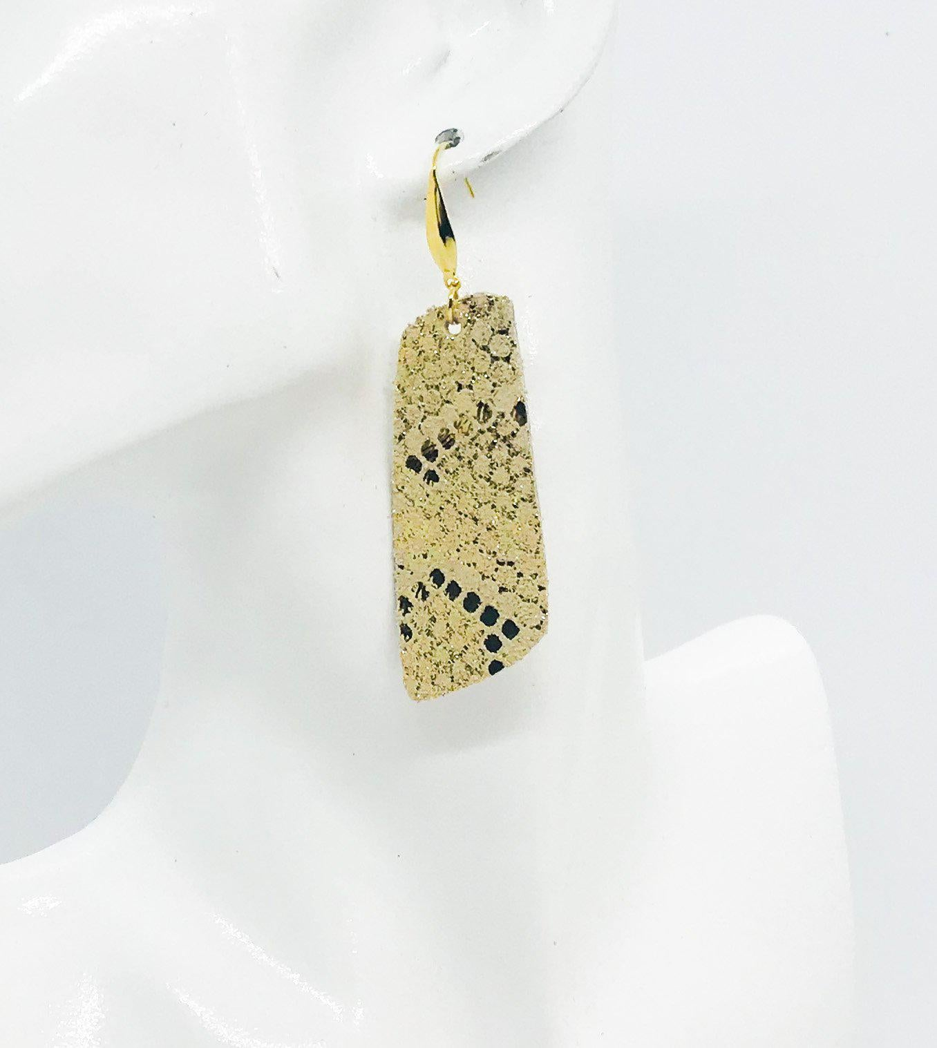 Mystic Gold on Tan Leather Earrings - E19-1195