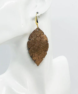 Vintage Crackle Copper Leather Earrings - E19-1197