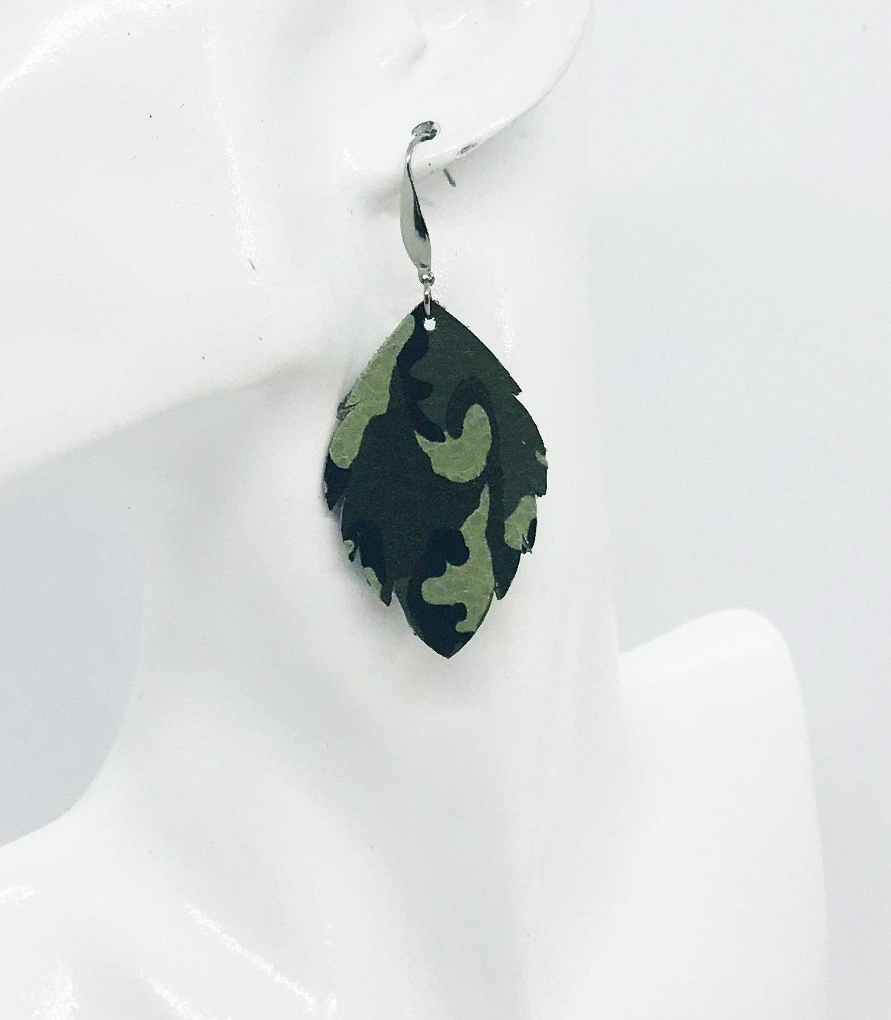 Green Camo Leather Earrings - E19-1199