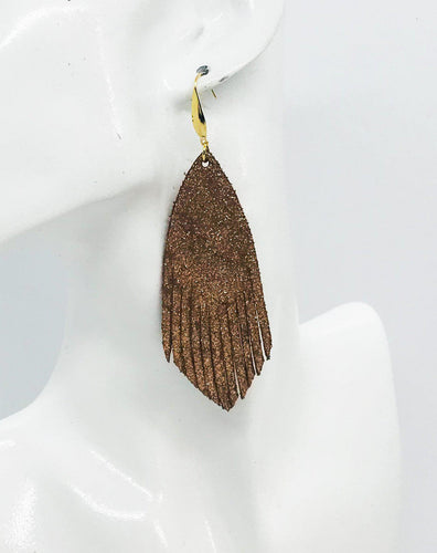 Rose Gold Copper Leather Earrings - E19-1210