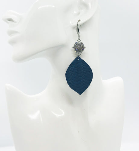 Blue Italian Fishtail Leather Earrings - E19-1220