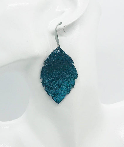 Turquoise Blue on Black Leather Earrings - E19-1228