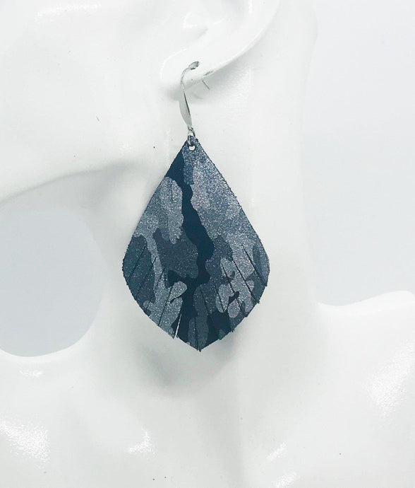 Navy Metallic Camo Leather Earrings - E19-1239