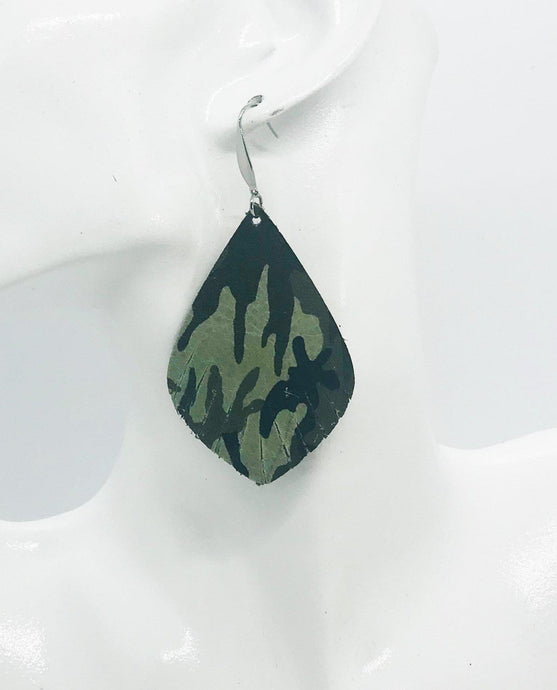 Green Camo Leather Earrings - E19-1240