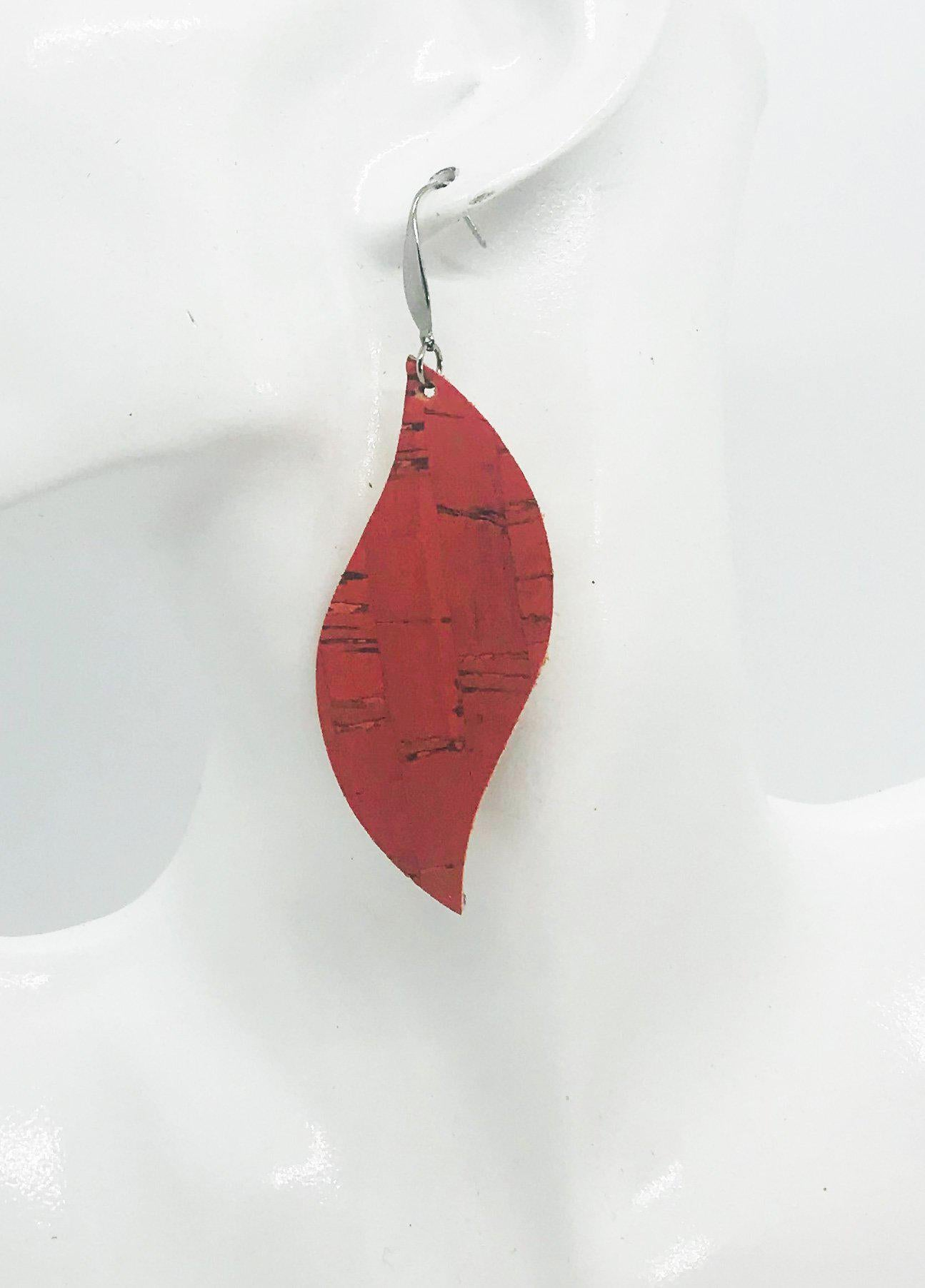 Salmon Cork Leather Earrings - E19-1255