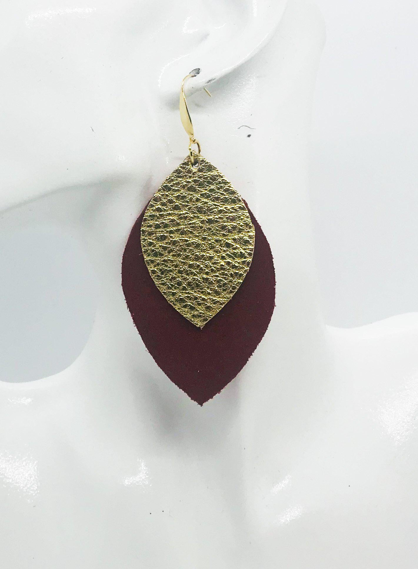 Pebbled Gold Leather Over Red Suede Leather Earrings - E19-1268