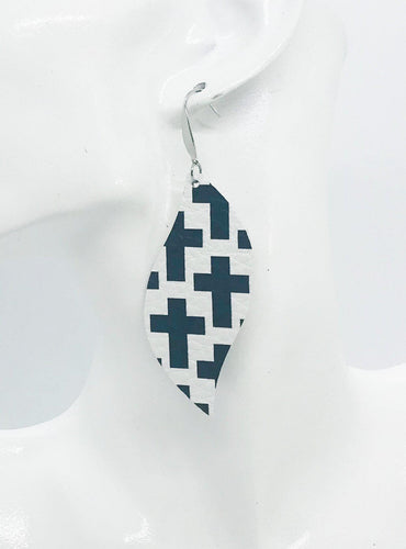 Black Crosses on off White Leather Earrings - E19-1283