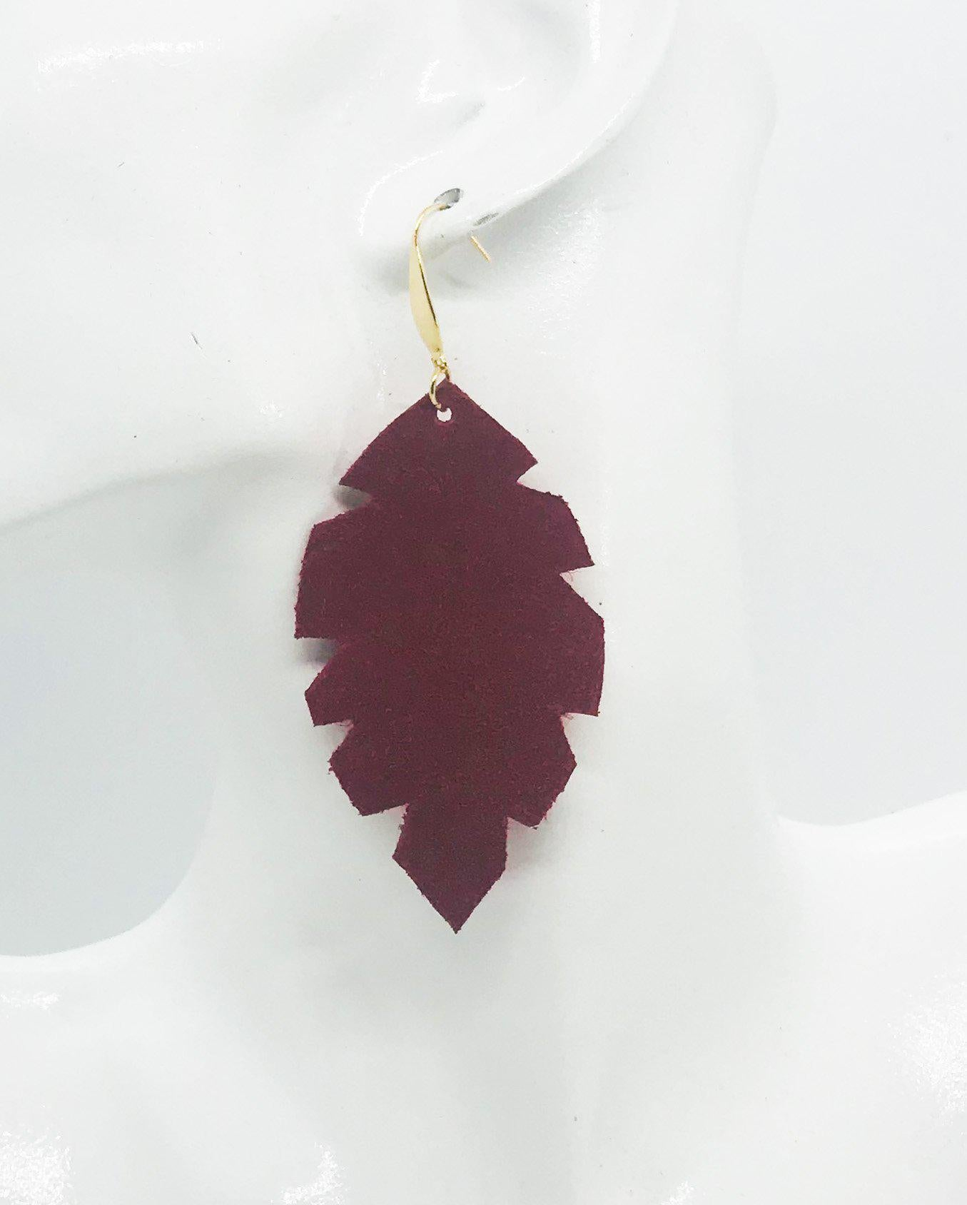 Red Suede Leather Earrings - E19-1286
