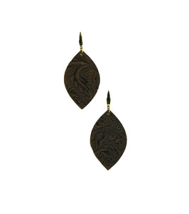Chocolate Embossed Leather Earrings - E19-1303
